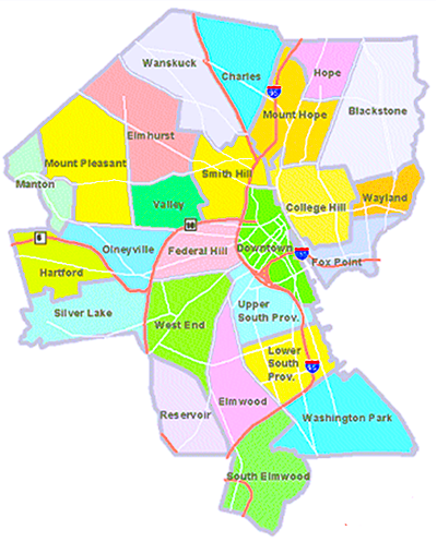 Neighborhood Map of Providence, RI